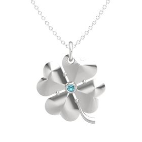 Sterling Silver Necklace with London Blue Topaz