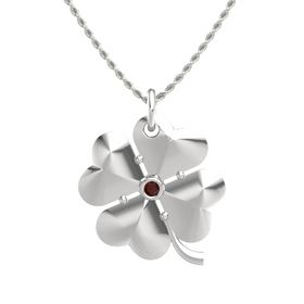 Sterling Silver Pendant with Red Garnet