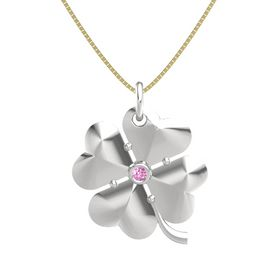 Sterling Silver Pendant with Pink Sapphire