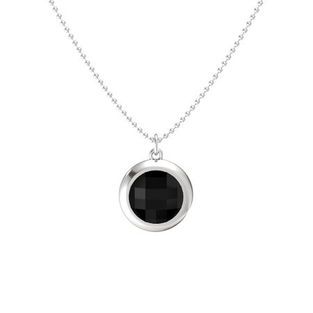Checkerboard round double sided black onyx sterling silver necklace pure round bezel pendant aloadofball Gallery