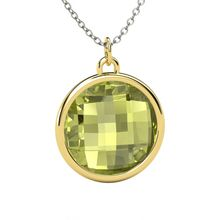 Checkerboard Round Double-sided Lemon Quartz 14K Yellow Gold Necklace