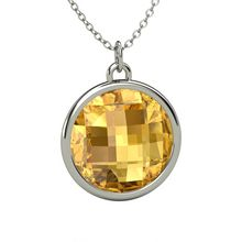 Checkerboard Round Double-sided Citrine Sterling Silver Pendant