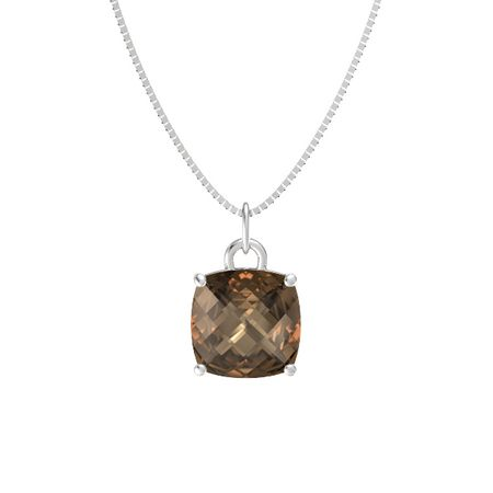 Checkerboard cushion pavilion smoky quartz sterling silver pure pendant mozeypictures Gallery