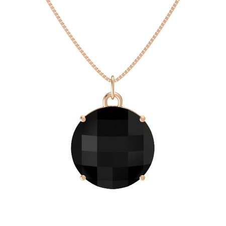 Checkerboard round double sided black onyx 14k rose gold necklace pure round pendant aloadofball Choice Image