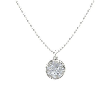 14K White Gold Necklace with Diamond | Pure Pave Pendant ...