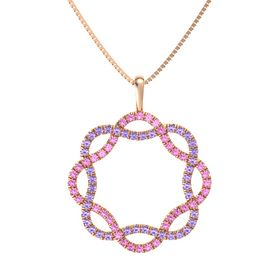 14K Rose Gold Pendant with Pink Sapphire and Iolite
