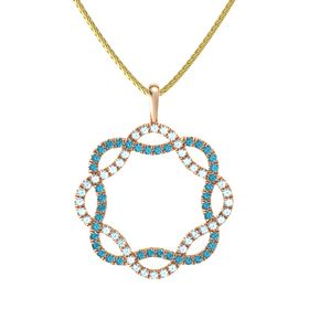 14K Rose Gold Pendant with Aquamarine and London Blue Topaz