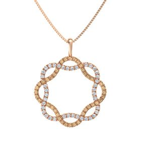 14K Rose Gold Necklace with Smoky Quartz & Diamond