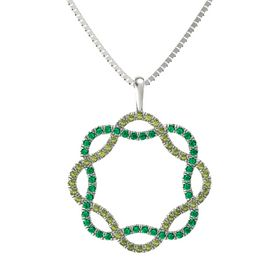 14K White Gold Pendant with Green Tourmaline and Emerald