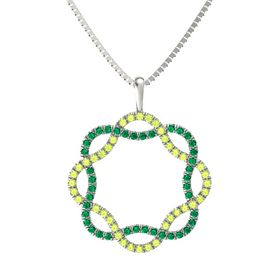 14K White Gold Pendant with Peridot and Emerald