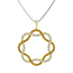 14K Yellow Gold Necklace with Citrine & Diamond