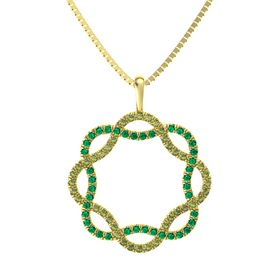 14K Yellow Gold Pendant with Green Tourmaline and Emerald
