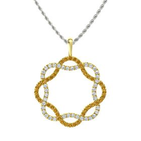 18K Yellow Gold Necklace with Citrine & Diamond
