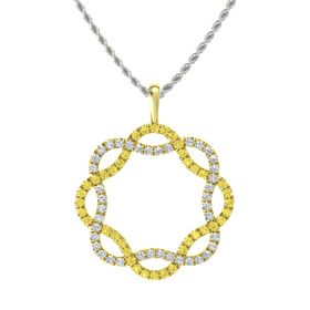 18K Yellow Gold Necklace with Yellow Sapphire & Diamond