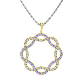 18K Yellow Gold Necklace with Tanzanite & Diamond