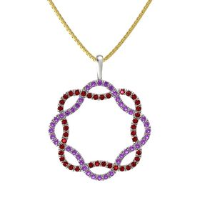 Palladium Necklace with Amethyst & Ruby