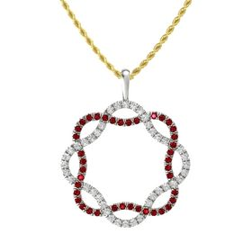 Palladium Pendant with White Sapphire and Ruby