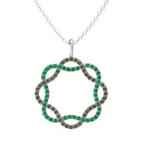Palladium Pendant with Alexandrite and Emerald