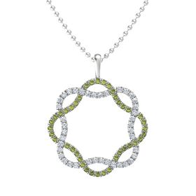 Sterling Silver Necklace with Green Tourmaline & Diamond