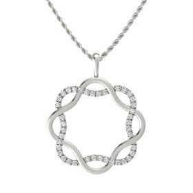 14K White Gold Pendant with White Sapphire