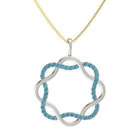18K White Gold Necklace with London Blue Topaz