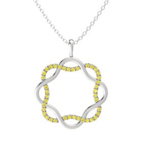 Sterling Silver Pendant with Yellow Sapphire