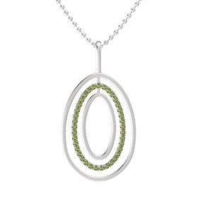 Sterling Silver Necklace with Green Tourmaline