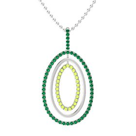Sterling Silver Pendant with Emerald and Peridot