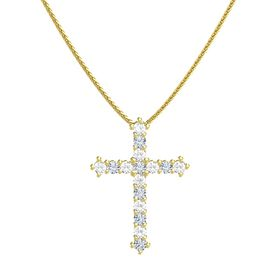 14K Yellow Gold Pendant with Rock Crystal and Diamond