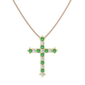 14K Yellow Gold Pendant with Emerald and White Sapphire