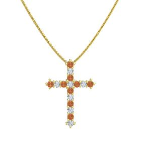 14K Yellow Gold Necklace with Fire Opal & Diamond