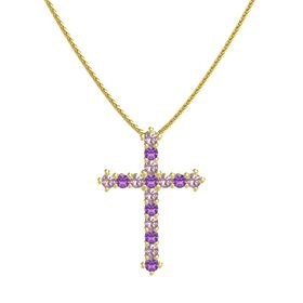 14K Yellow Gold Necklace with Rhodolite Garnet & Amethyst