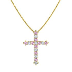 14K Yellow Gold Pendant with Pink Sapphire and Diamond