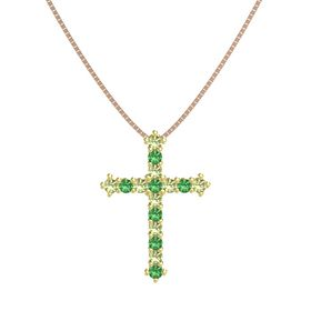 18K Yellow Gold Pendant with Peridot and Emerald
