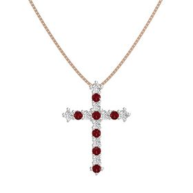 Platinum Pendant with White Sapphire and Ruby