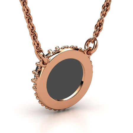 Cabochon round black onyx 14k rose gold necklace crown gem crown gem pendant aloadofball Image collections
