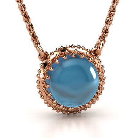 Cabochon round london blue topaz 14k rose gold necklace crown crown gem pendant aloadofball Image collections