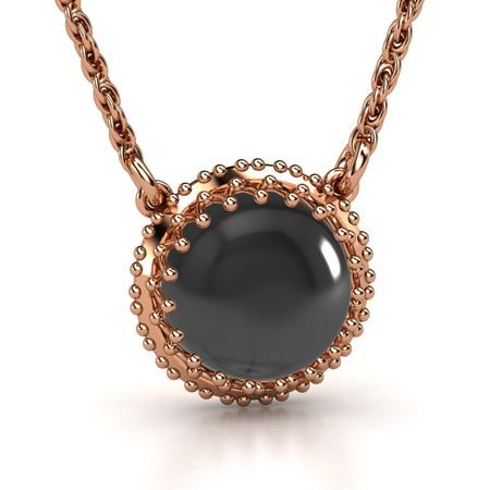 Cabochon round black onyx 14k rose gold necklace crown gem pendant crown gem pendant aloadofball Images