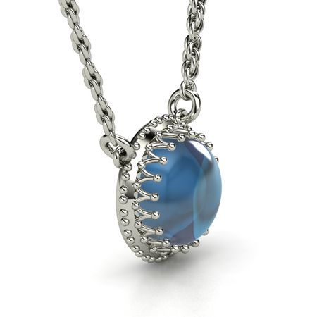 Cabochon round london blue topaz 14k white gold necklace crown gem crown gem pendant aloadofball Gallery