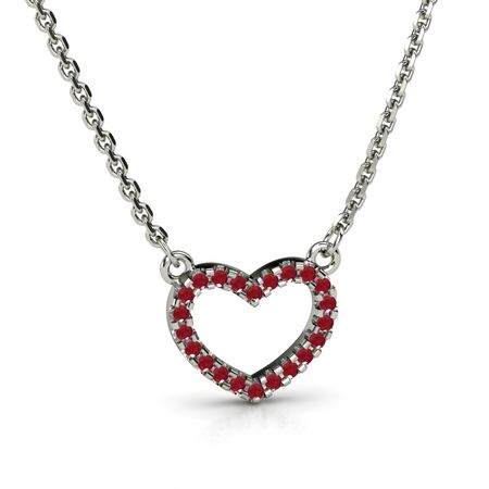 Sterling silver necklace with ruby petite pave heart pendant gemvara petite pave heart pendant aloadofball Gallery