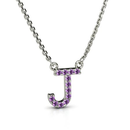14k white gold necklace with amethyst petite pave j initial petite pave aloadofball Image collections