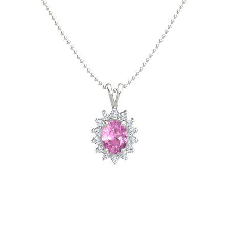 Oval pink sapphire 14k white gold necklace with diamond oval oval halo pendant aloadofball Image collections