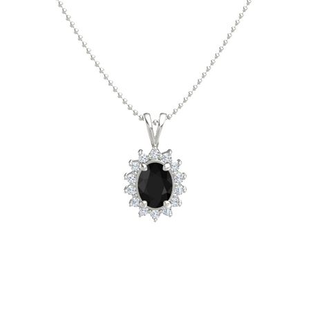Oval black onyx 14k white gold necklace with diamond oval halo oval halo pendant mozeypictures Gallery