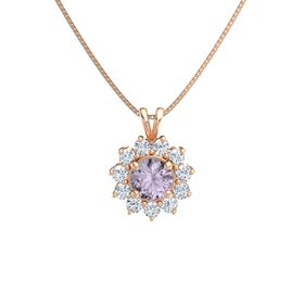Round Rose de France 14K Rose Gold Pendant with Diamond