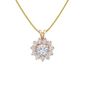 Round Diamond 14K Rose Gold Pendant with White Sapphire