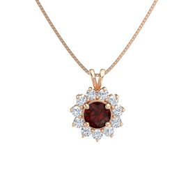 Round Red Garnet 14K Rose Gold Necklace with Diamond