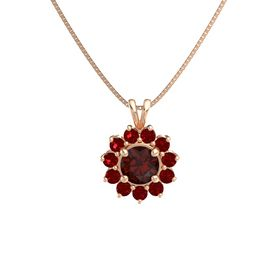 Round Red Garnet 14K Rose Gold Pendant with Ruby