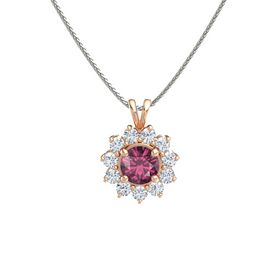 Round Rhodolite Garnet 14K Rose Gold Pendant with Diamond