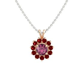 Round Rhodolite Garnet 14K Rose Gold Pendant with Ruby