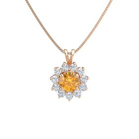 Round Citrine 14K Rose Gold Necklace with Diamond